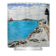 Christmas Lighthouse Shower Curtain