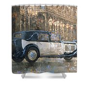 Christmas Lights And 8 Litre Bentley Shower Curtain by Peter Miller