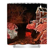 Christmas Lights At Clifton Mill Shower Curtain