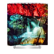 Christmas Lights At The Waterfall Shower Curtain