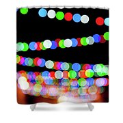 Christmas Lights Bokeh Blur Shower Curtain
