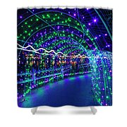 Christmas Lights In Tunnel At Lafarge Lake Shower Curtain