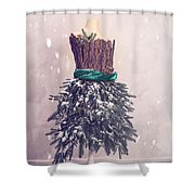 Christmas Mannequin Dressed In Fir Branches Shower Curtain