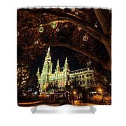 Christmas Market At The Vienna City Hall Shower Curtain