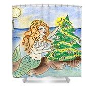 Christmas Mermaid Shower Curtain