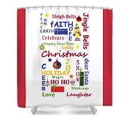 Christmas Message  -  Typography Shower Curtain