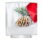 Christmas Objects On Snow  Shower Curtain