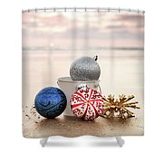 Christmas Ornaments On The Beach Shower Curtain