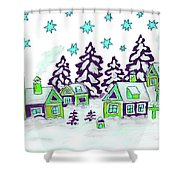 Christmas Picture In Green And Blue Colours Shower Curtain