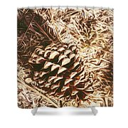 Christmas Pinecone On Barn Floor Shower Curtain