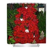 Christmas Poinsettia Display 002 Shower Curtain