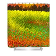 Christmas Poppies Shower Curtain
