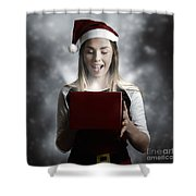 Christmas Present Girl Opening Magic Gift Box Shower Curtain