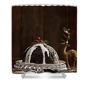 Christmas Pudding With Cream Shower Curtain