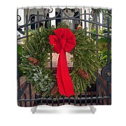 Christmas Ribbon On Iron Door Shower Curtain