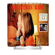 Christmas Ride Family Poster By Karen E. Francis Shower Curtain
