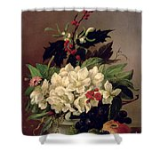 Christmas Roses Shower Curtain