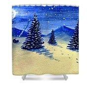 Christmas Snow Shower Curtain