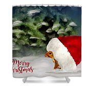 Christmas Squirrel  Greeting Card Shower Curtain
