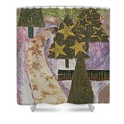 Christmas Stroll Card Shower Curtain
