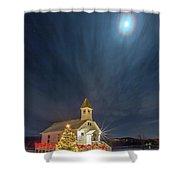 Christmas Time Full Moon Shower Curtain