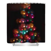Christmas Tree Circles Abstract  Shower Curtain