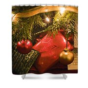 Christmas Tree Decorations And Gifts Shower Curtain
