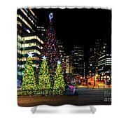 Christmas Tree On New Year's Eve In The Street Of A Big City Shower Curtain
