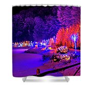 Christmas Trees Row And Frozen Lake View Shower Curtain