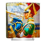 Christmas Trumpet Shower Curtain