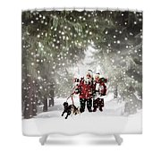 Christmas Walking Shower Curtain