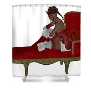Christmas Woman On Couch Shower Curtain