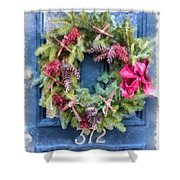 Christmas Wreath Watercolor Shower Curtain