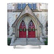 Christmas Wreaths On Red Church Doors Shower Curtain