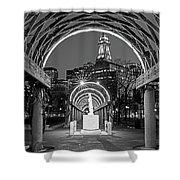 Christopher Columbus Park Boston Ma Trellis Statue Black And White Shower Curtain