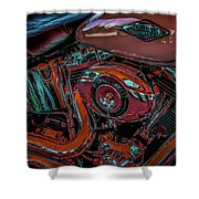 Chrome Leather And Power 1481 H_2 Shower Curtain