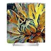 Chrysanthemum On Linen Shower Curtain by Susan Maxwell Schmidt