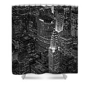 Chrysler Building Aerial View Bw Shower Curtain