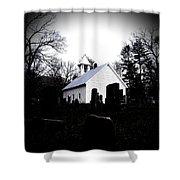 Church And Cemetary- Lens Shower Curtain