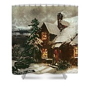 Church And Cottage With Lighted Windows Shower Curtain