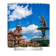 Church And Fountain In Cusco Peru Shower Curtain