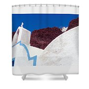 Church And Windmill In Santorini Greece Shower Curtain