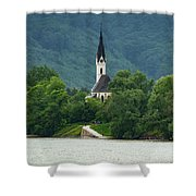 Church By The Danube Shower Curtain