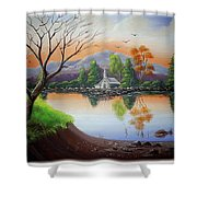 Church By The Lake Shower Curtain