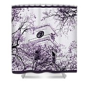 Church Clock In Autumn Shower Curtain