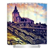 Church Dominant With Decorative Historical Staircase, Graphic Work From Painting. Shower Curtain