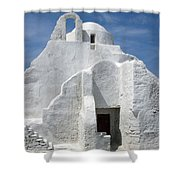 Church In Mykonos Shower Curtain