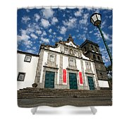 Church In Ribeira Grande Shower Curtain