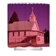 Church In Spirit Lake Idaho  Shower Curtain
