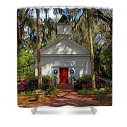 Church In Spring Shower Curtain